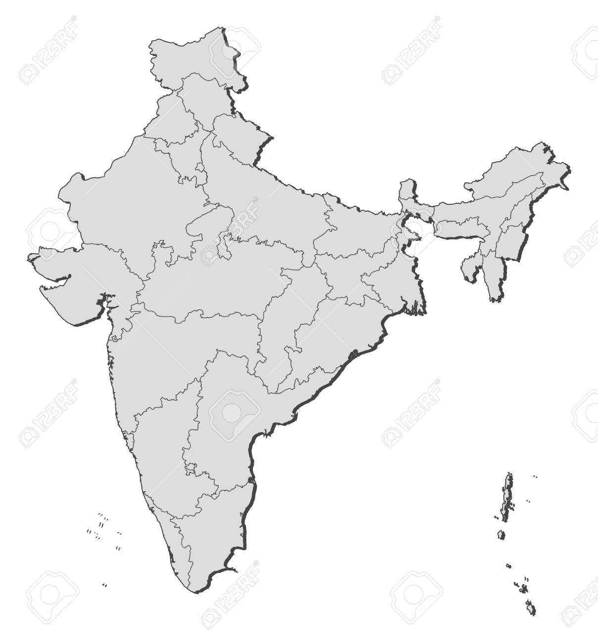 political map of india with the several states royalty free