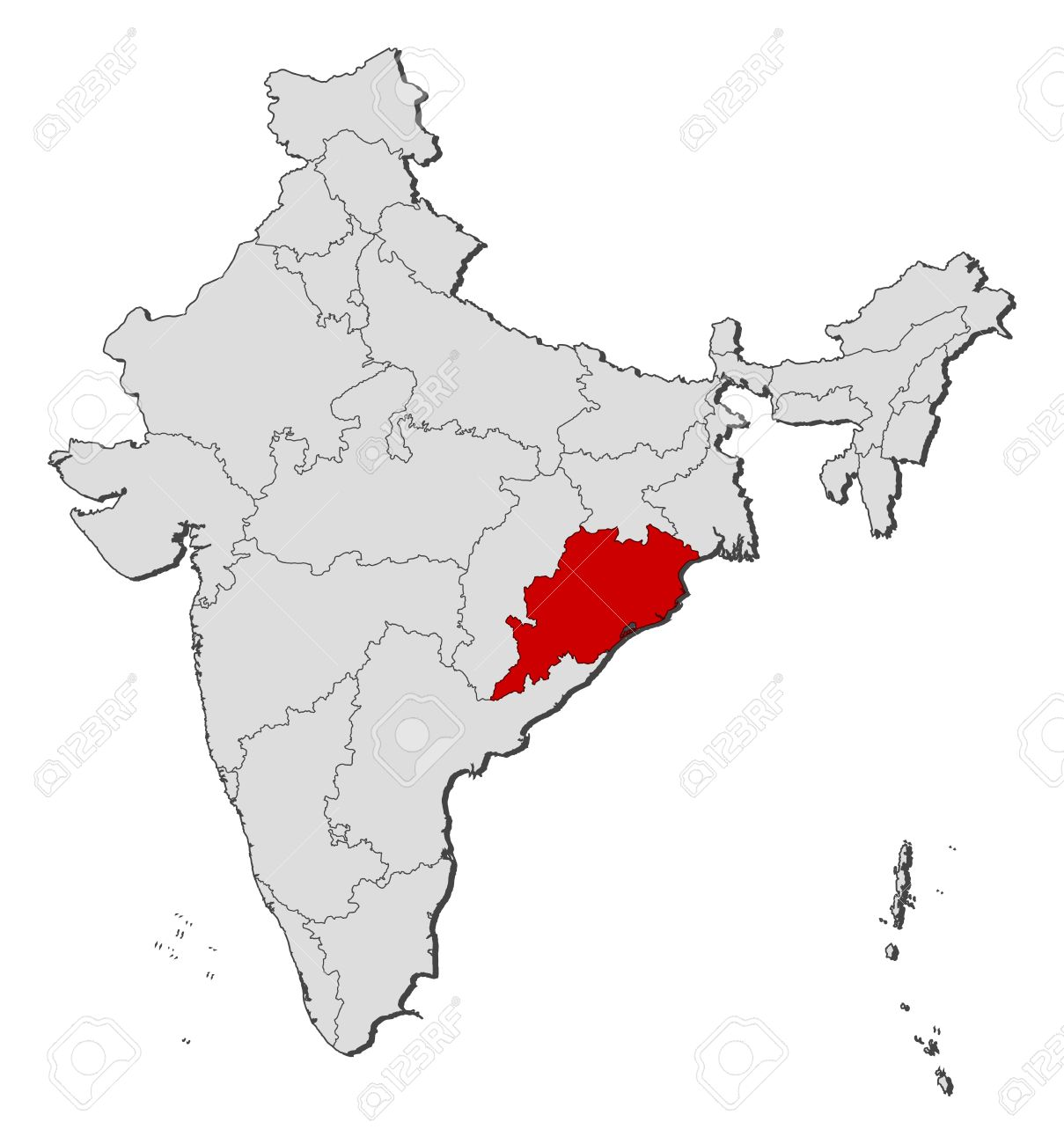 Political map of india with the several states where orissa is political map of india with the several states where orissa is highlighted stock vector gumiabroncs Gallery