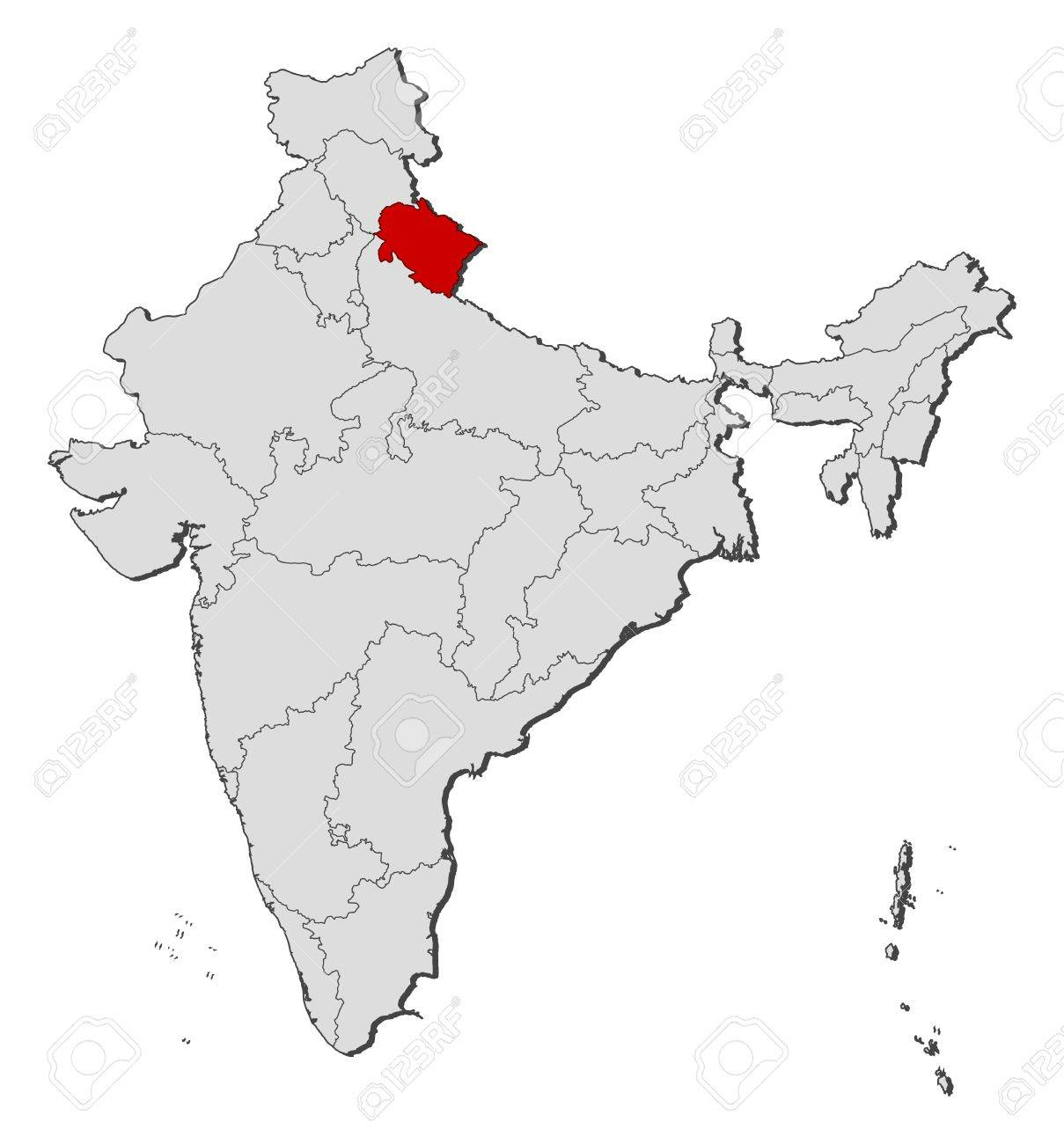 Political map of India with the several states where Uttarakhand..