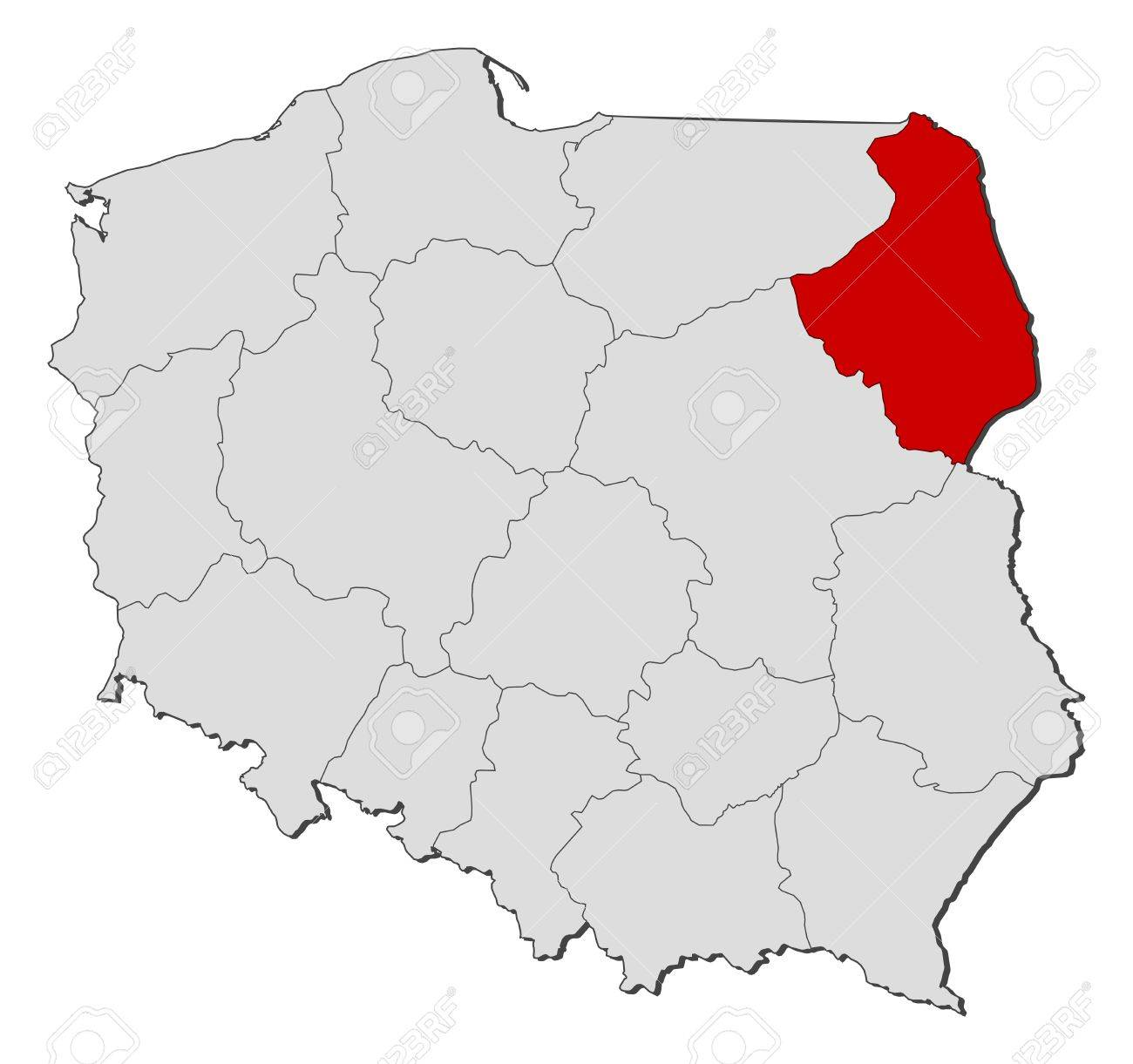 Political Map Of Poland With The Several Provinces Voivodships - Poland political map