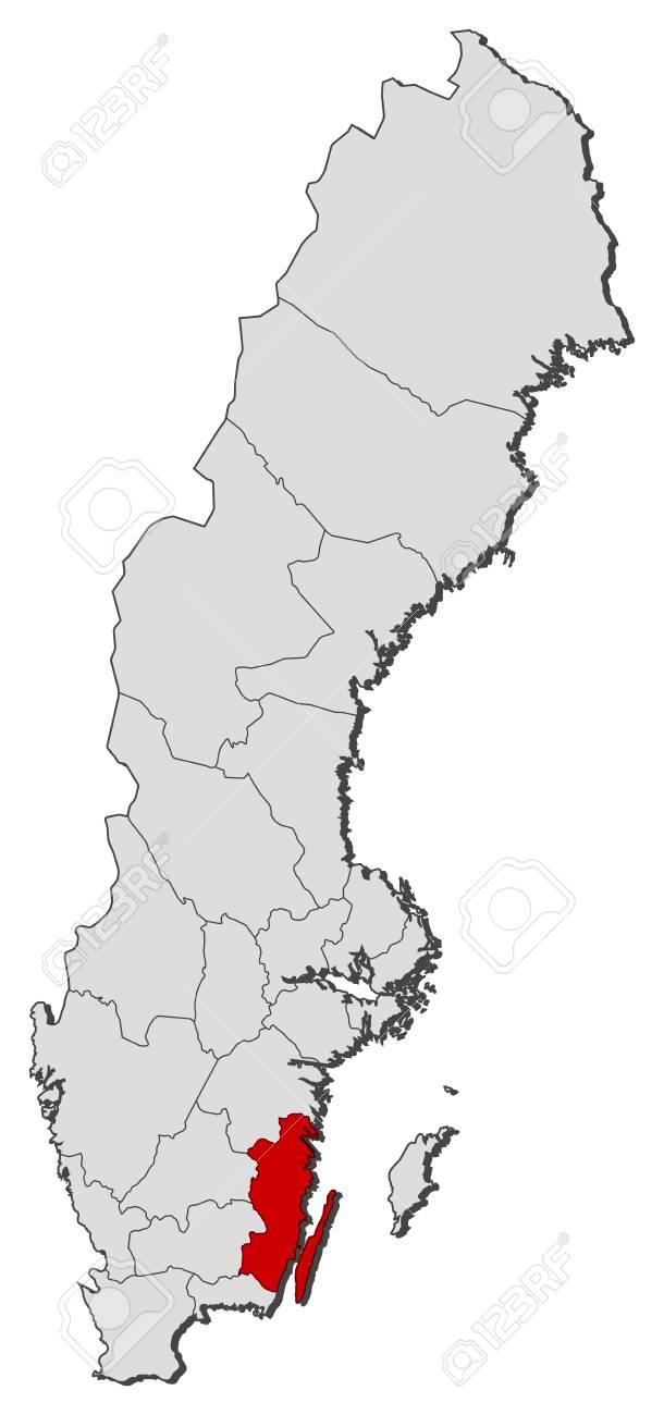 Mapa Politico De Suecia.Mapa Politico De Suecia Con Las Distintas Provincias Donde Se Destaca Condado De Kalmar