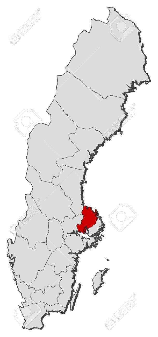 Mapa Politico De Suecia.Mapa Politico De Suecia Con Las Distintas Provincias Donde Se Destaca El Condado De Uppsala