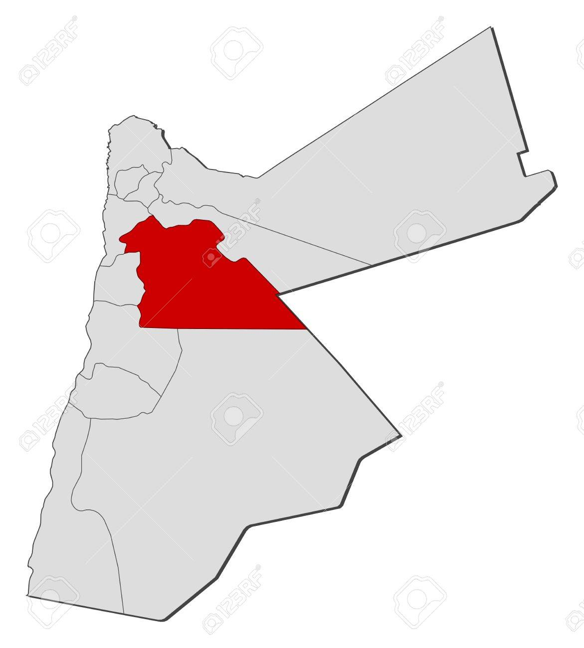 Political Map Of Jordan.Political Map Of Jordan With The Several Governorates Where Amman