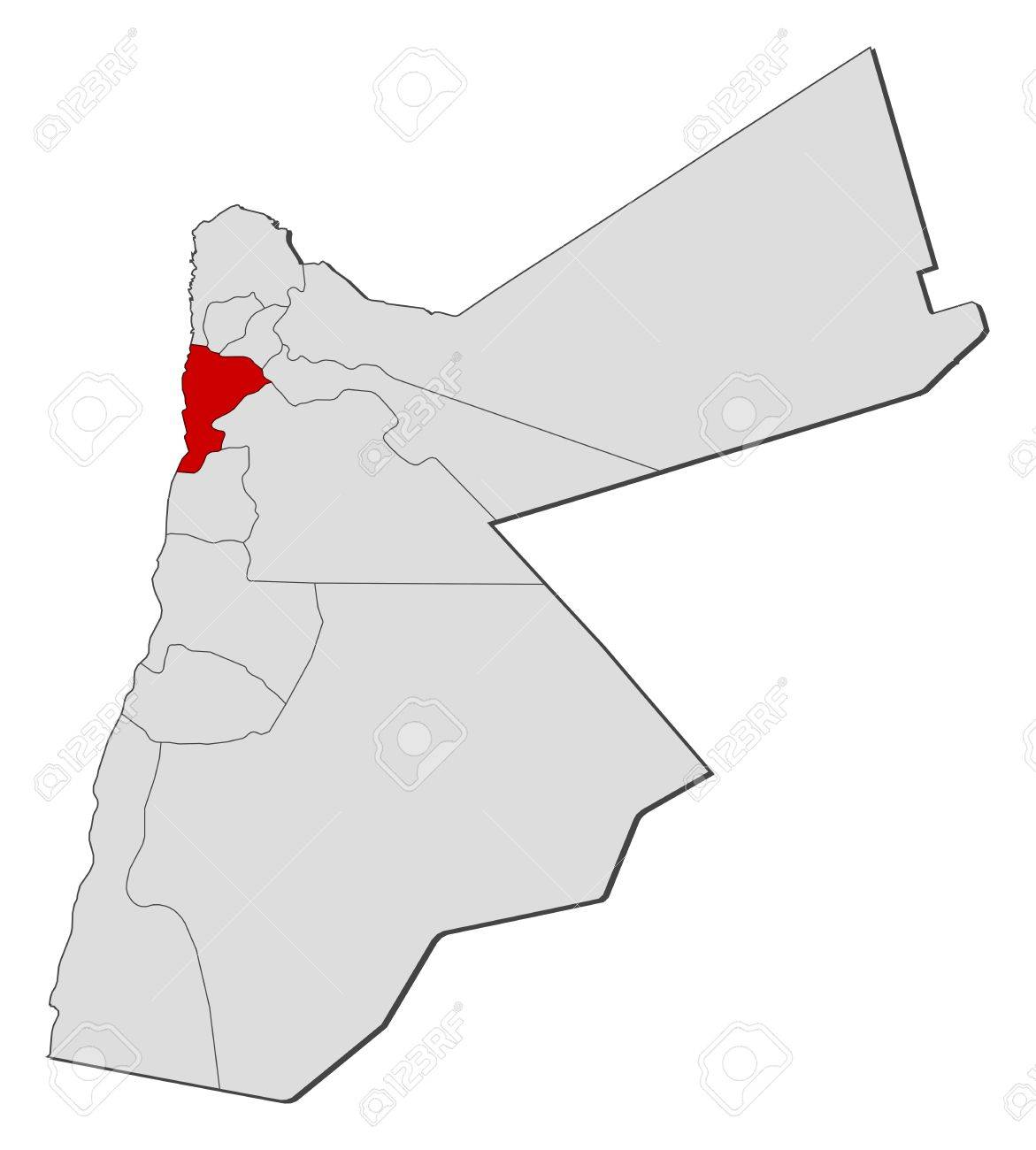 Jordan Political Map.Political Map Of Jordan With The Several Governorates Where Balqa