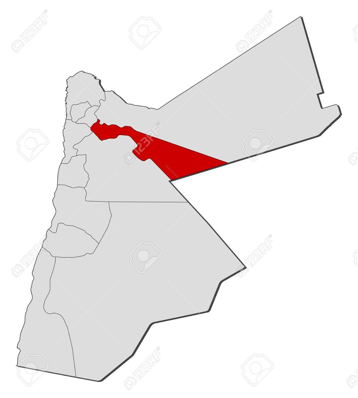 Political Map Of Jordan.Political Map Of Jordan With The Several Governorates Where Zarqa