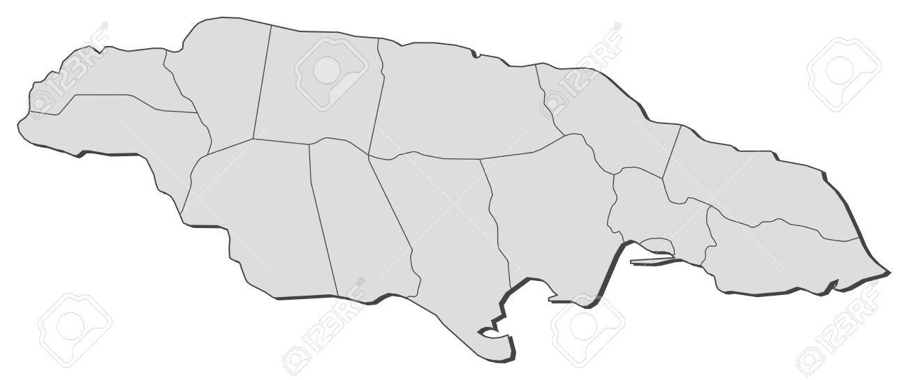 Political Map Of Jamaica With The Several Counties Royalty Free - Political map of jamaica