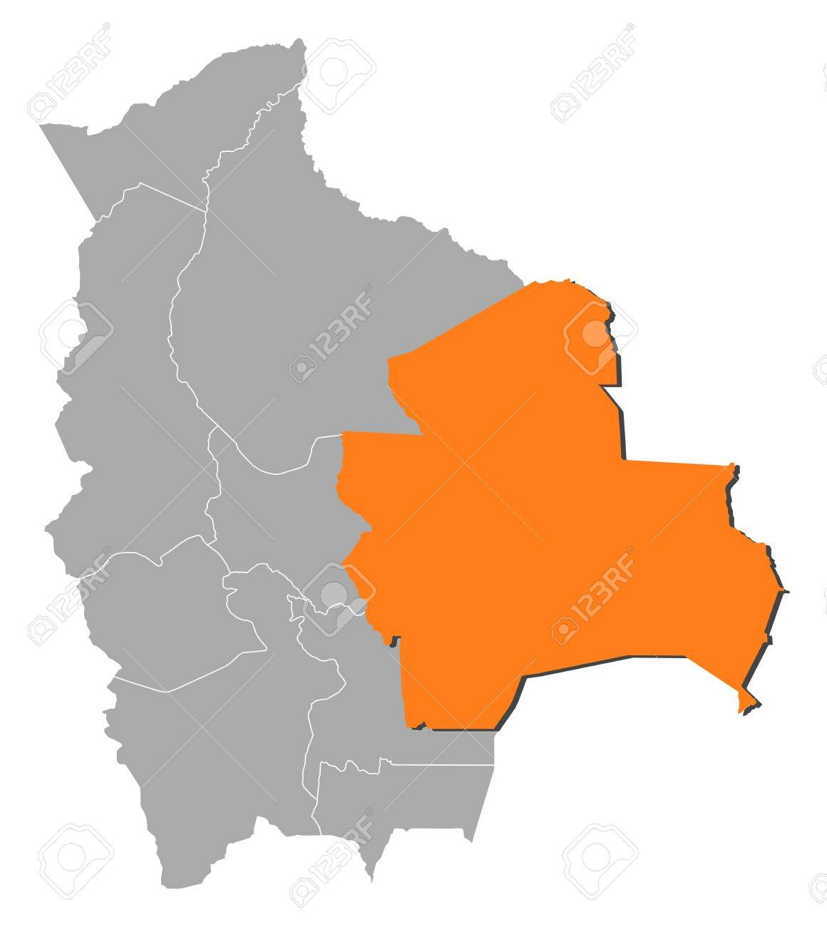 Political Map Of Bolivia With The Several Departments Where Santa