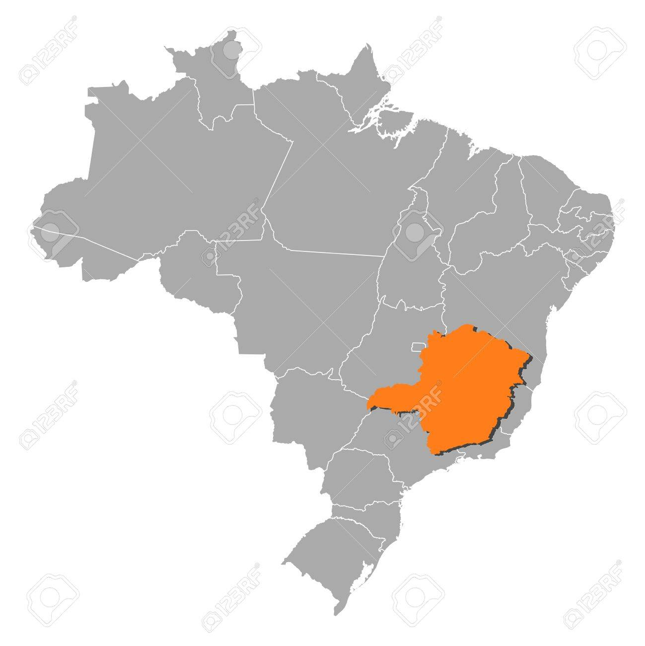 Political map of brazil with the several states where minas gerais political map of brazil with the several states where minas gerais is highlighted stock vector gumiabroncs Gallery