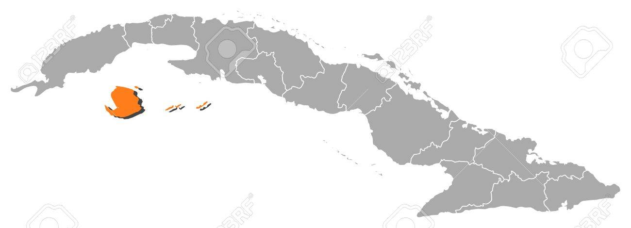 Political Map Of Cuba With The Several Provinces Where Isla De - Political map of cuba