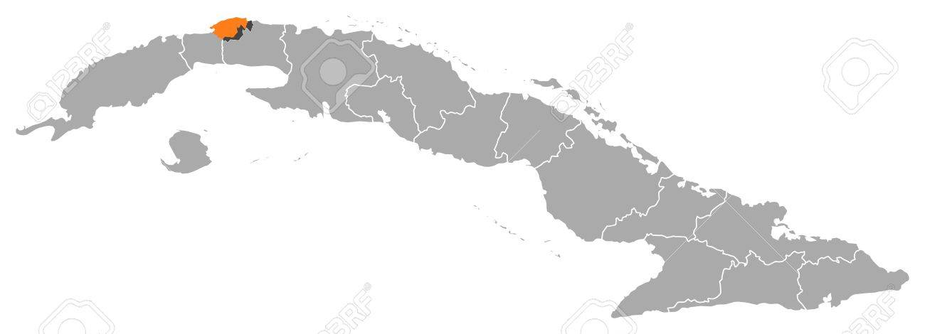 Political Map Of Cuba With The Several Provinces Where Havana