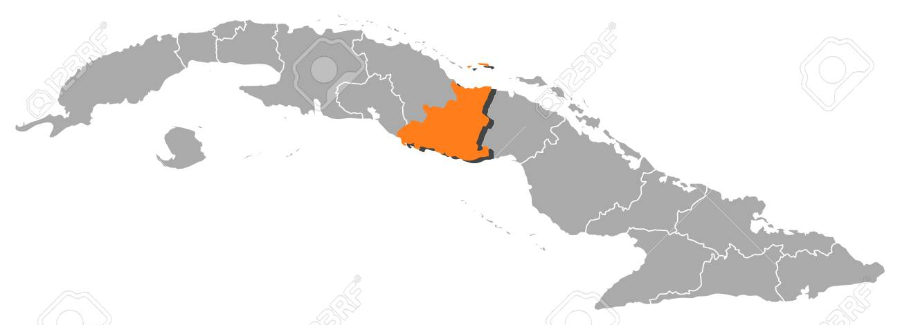 Political map of Cuba with the several provinces where Sancti Sp�ritus is highlighted. Stock Vector - 11392784