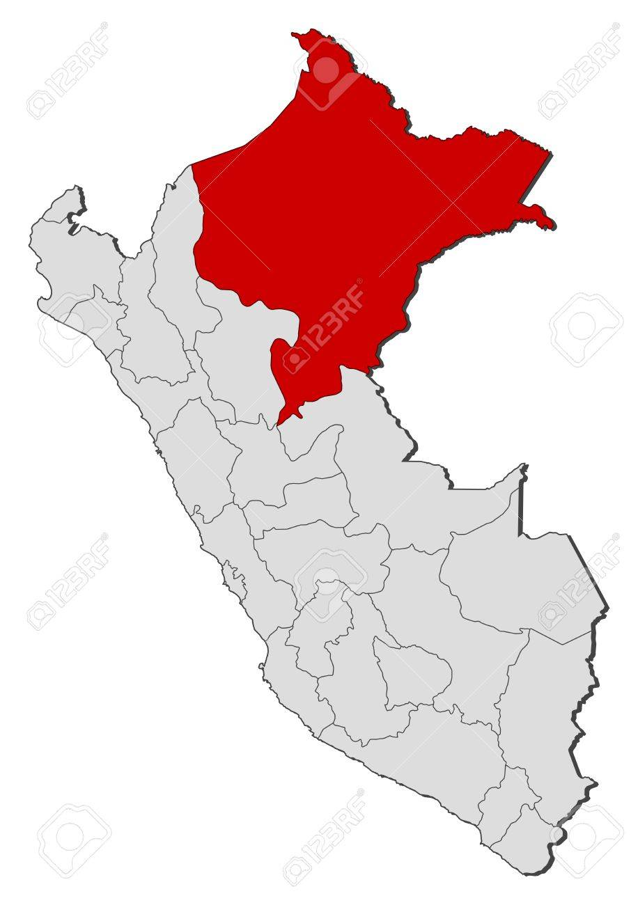 Political Map Of Peru With The Several Regions Where Loreto Is