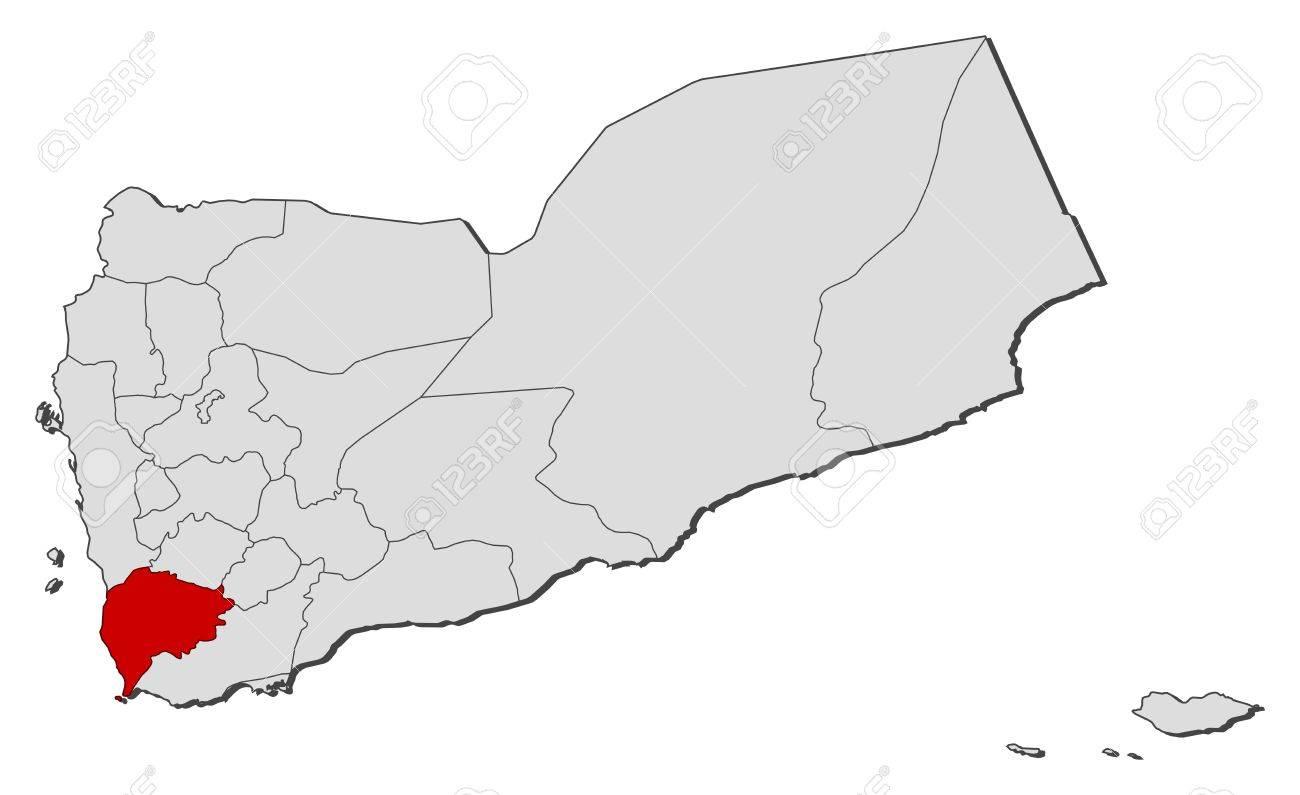 Political Map Of Yemen.Political Map Of Yemen With The Several Governorates Where Ta Izz