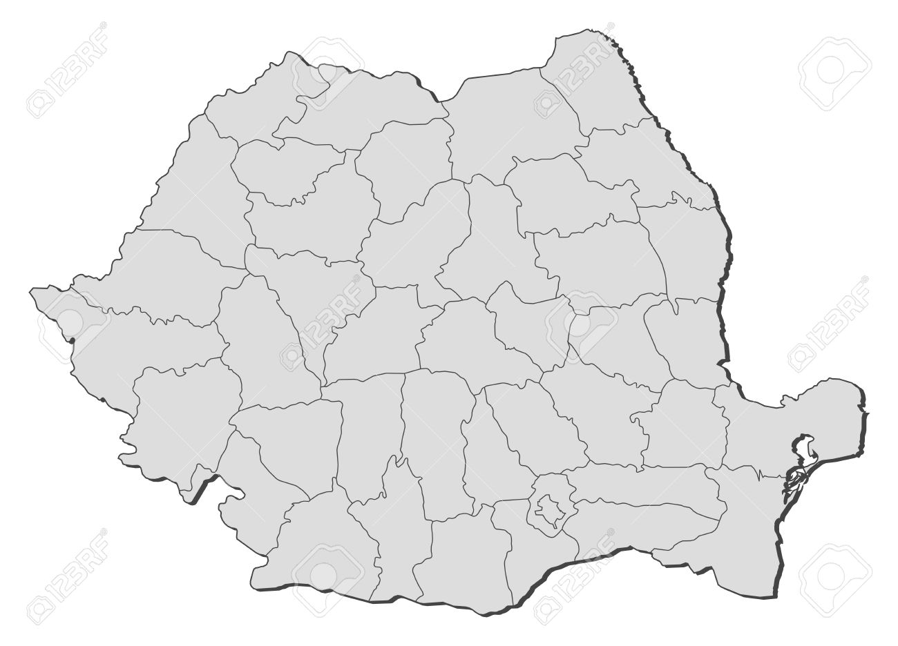 Political Map Of Romania With The Several Counties Royalty Free