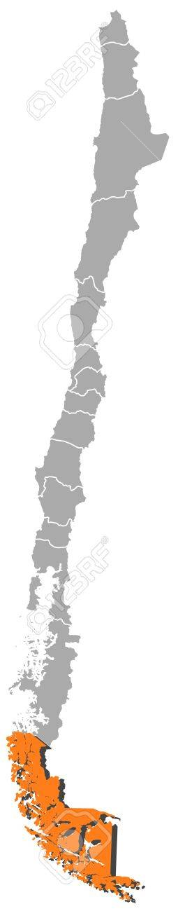 Political Map Of Chile With The Several Regions Where Magellan - Chile regions map
