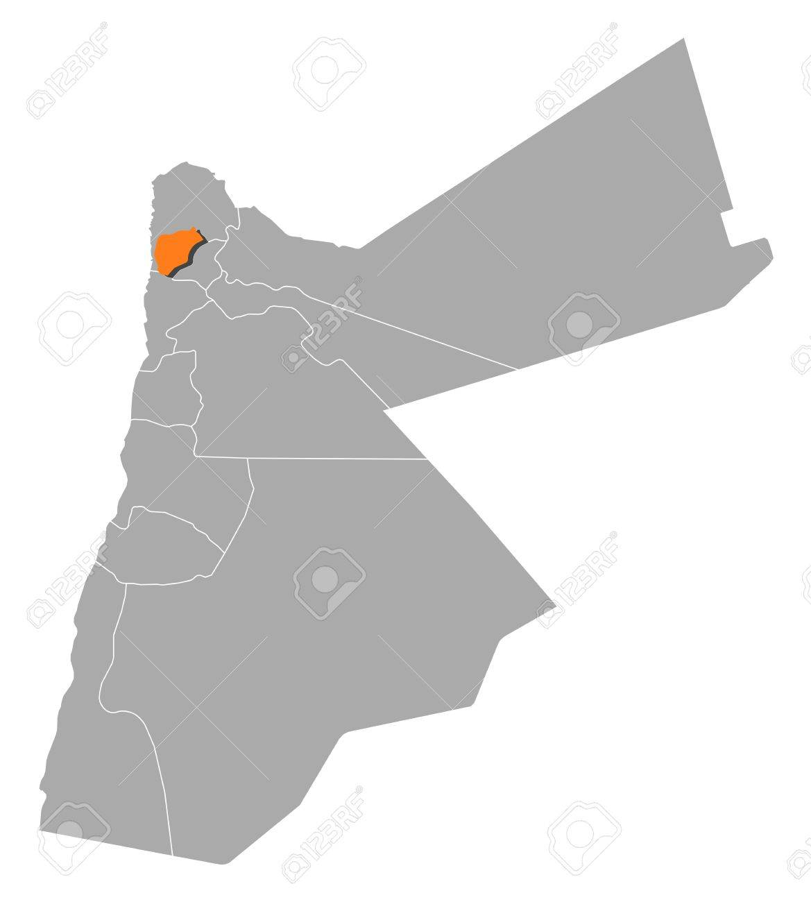 Jordan Political Map.Political Map Of Jordan With The Several Governorates Where Ajloun