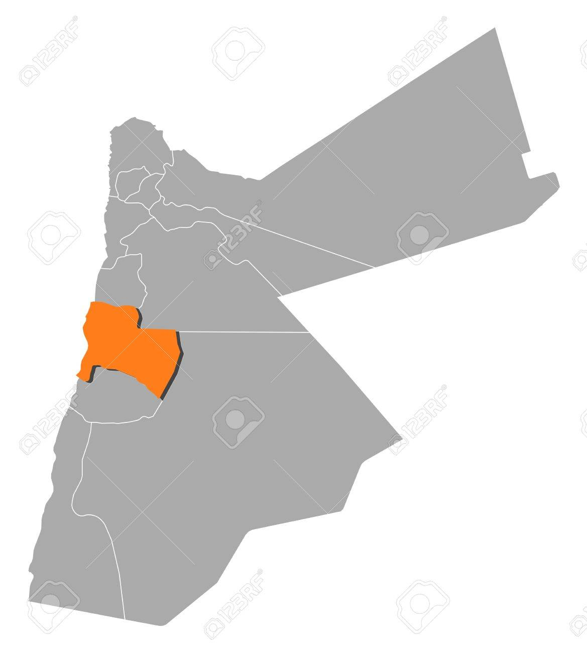 Political Map Of Jordan.Political Map Of Jordan With The Several Governorates Where Karak
