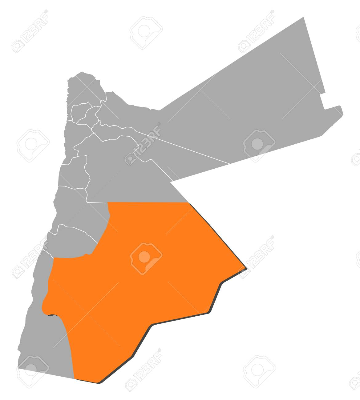 Political Map Of Jordan.Political Map Of Jordan With The Several Governorates Where Ma An