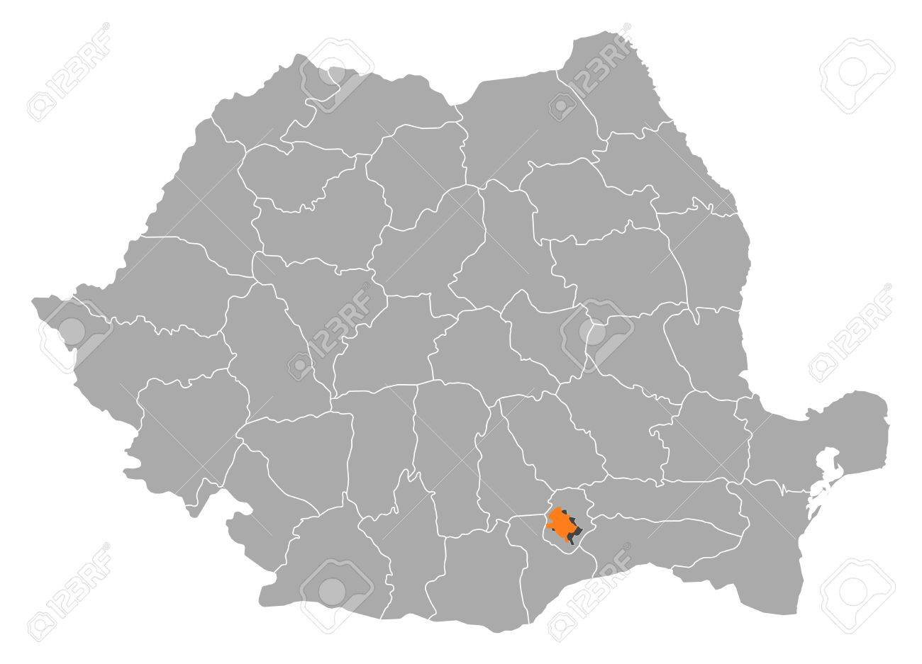 Political Map Of Romania With The Several Counties Where Bucharest ...