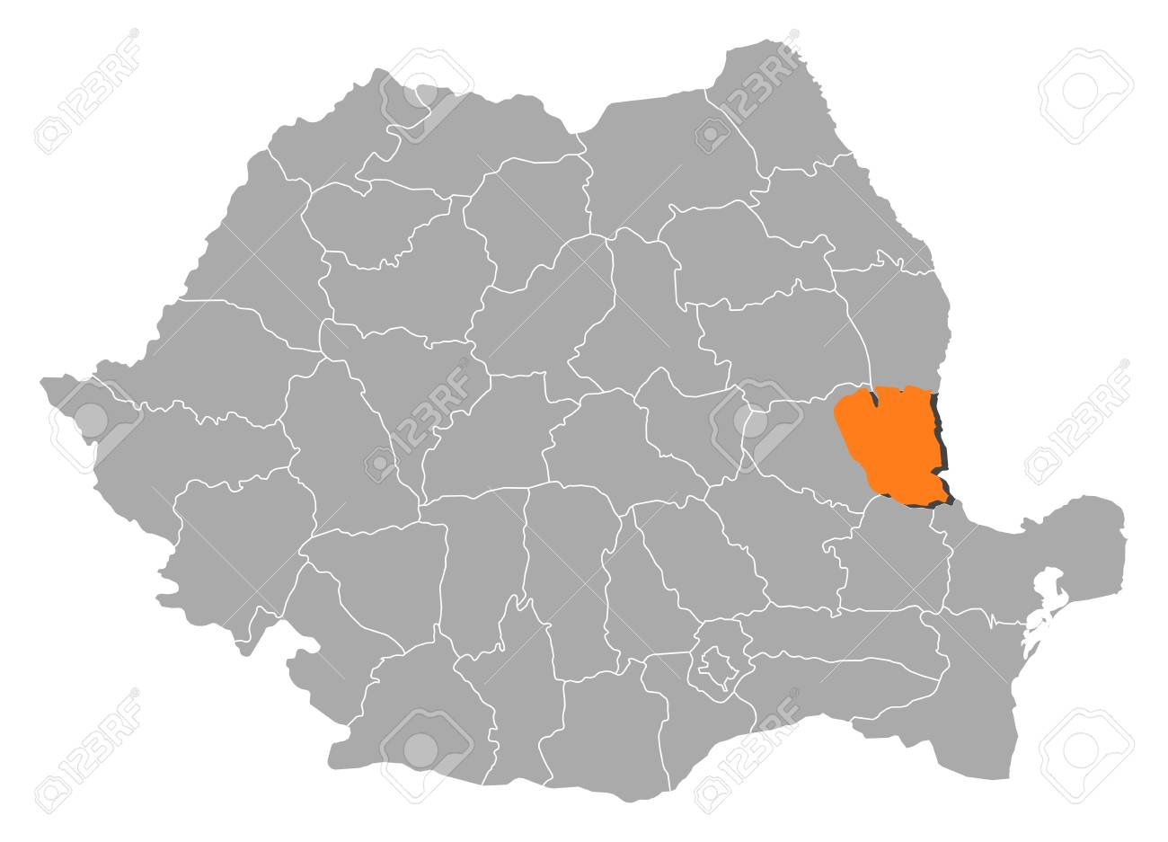 Political Map Of Romania With The Several Counties Where Galati Is Highlighted Stock Vector