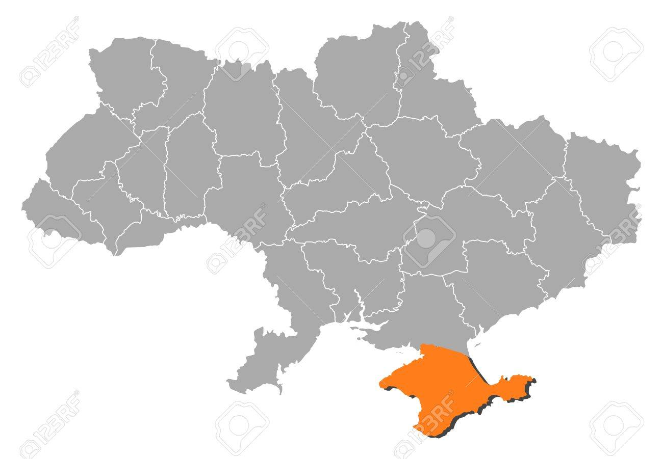 Political Map Of Ukraine With The Several Oblasts Where Crimea ...