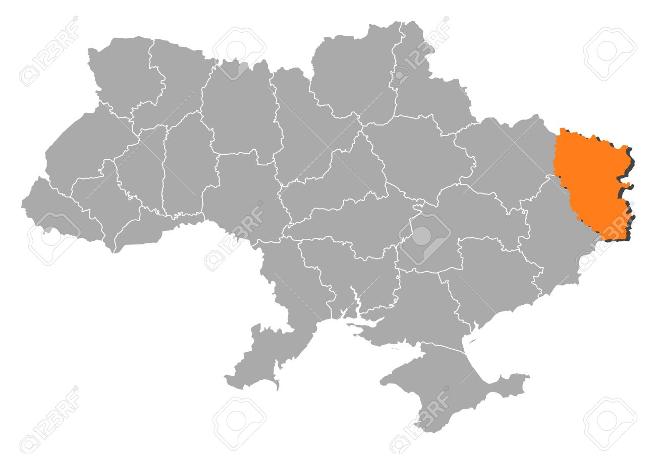 Political map of Ukraine with the several oblasts where Luhansk is highlighted. - 11450949