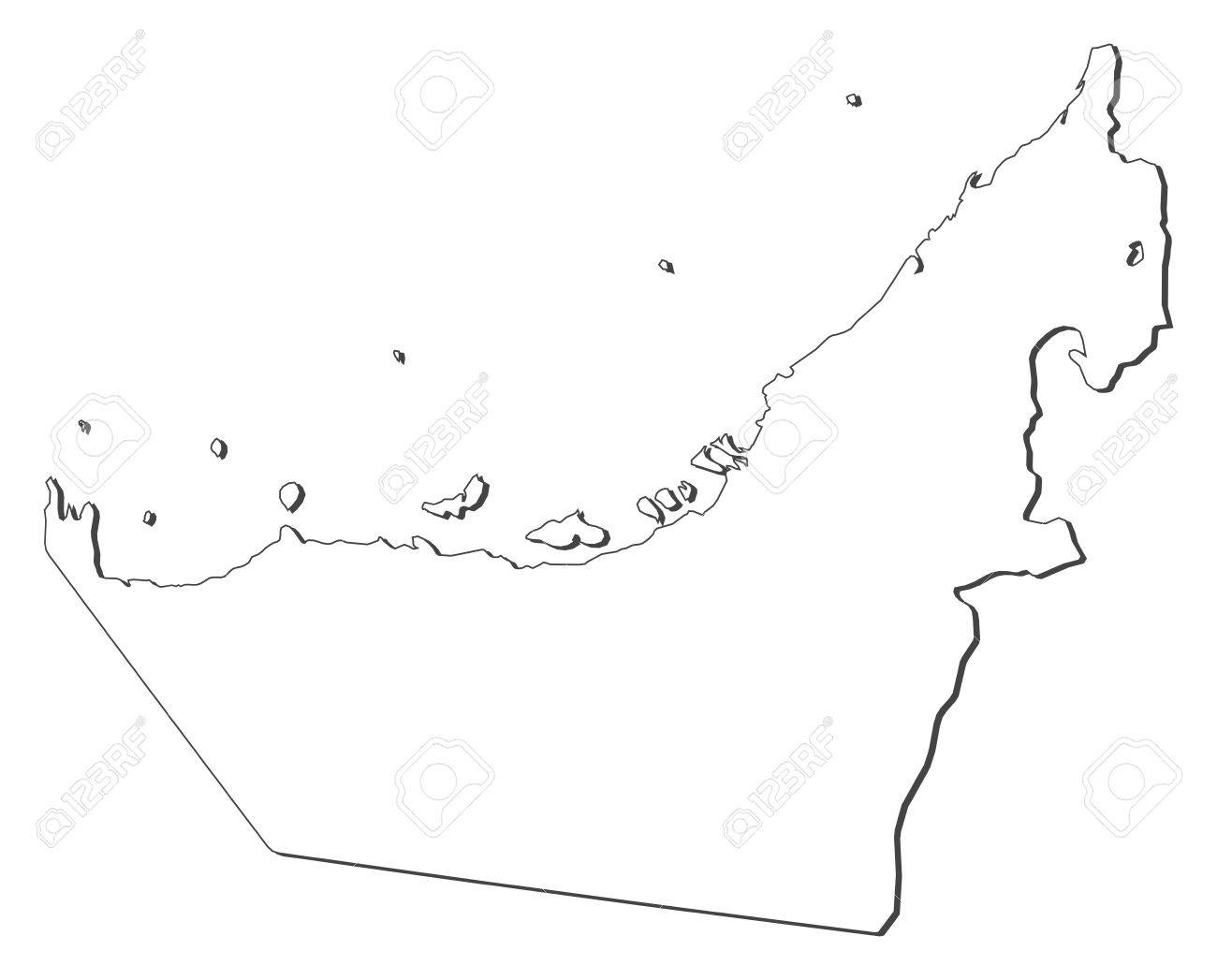 Political Map Of The United Arab Emirates With The Several Emerats
