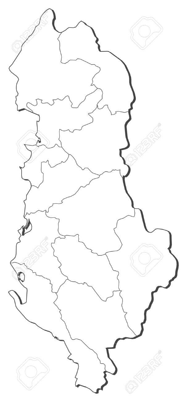 Political Map Of Albania With The Several Counties Royalty Free - Political map of albania
