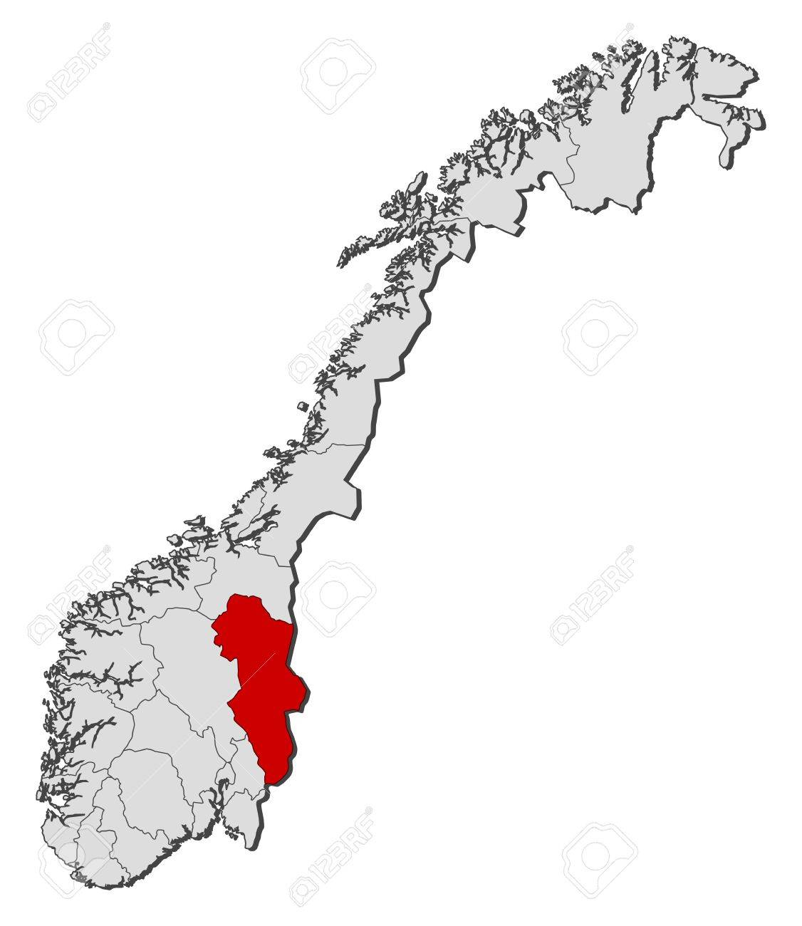 Political Map Of Norway With The Several Counties Where Hedmark - Norway map counties