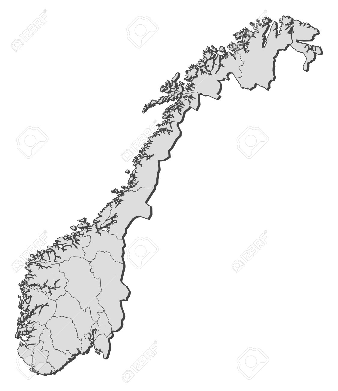 Political Map Of Norway With The Several Counties Royalty Free - Norway map vector countries