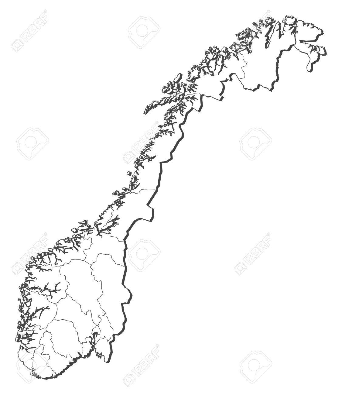 Political Map Of Norway With The Several Counties Royalty Free - Norway map drawing