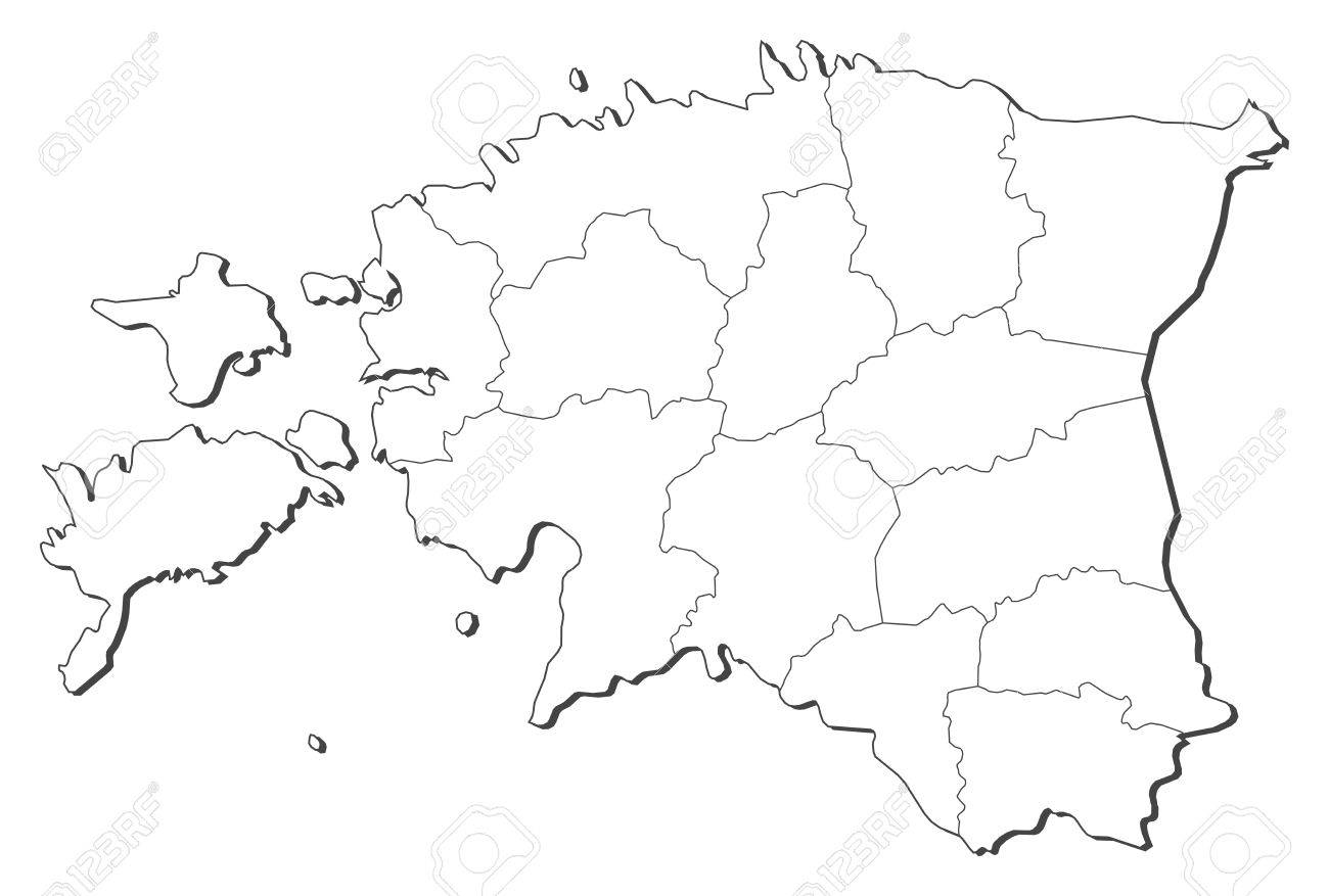 Political Map Of Estonia With The Several Counties Royalty Free