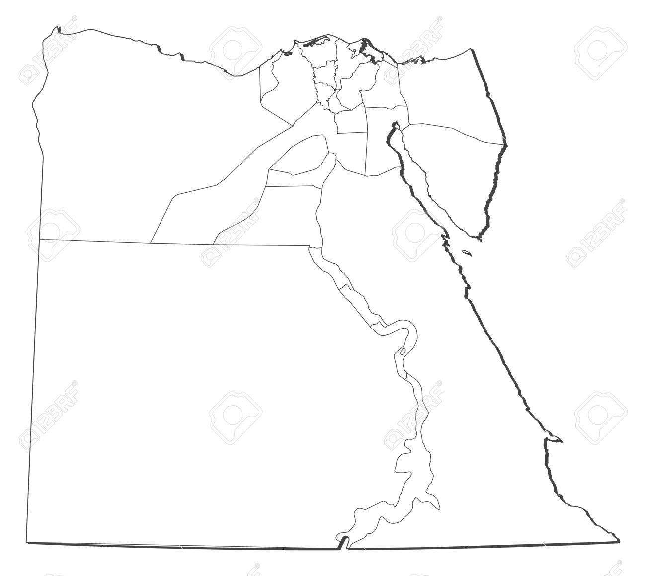 Political Map Of Egypt With The Several Governorates Royalty Free - Map of egypt vector