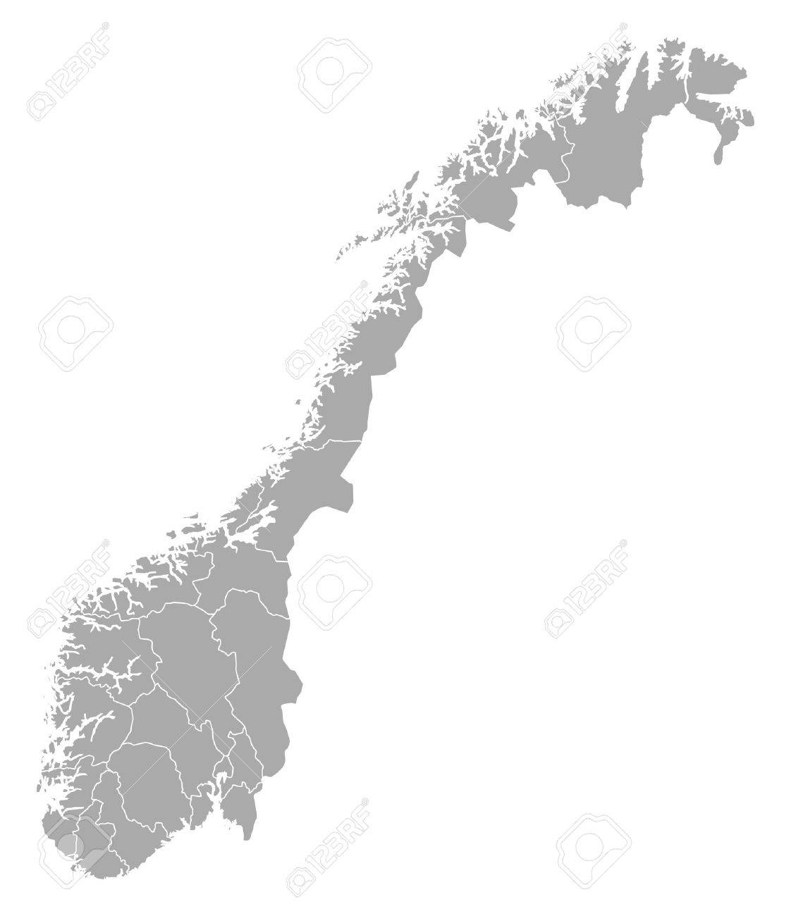 Political Map Of Norway With The Several Counties Royalty Free - Norway map counties