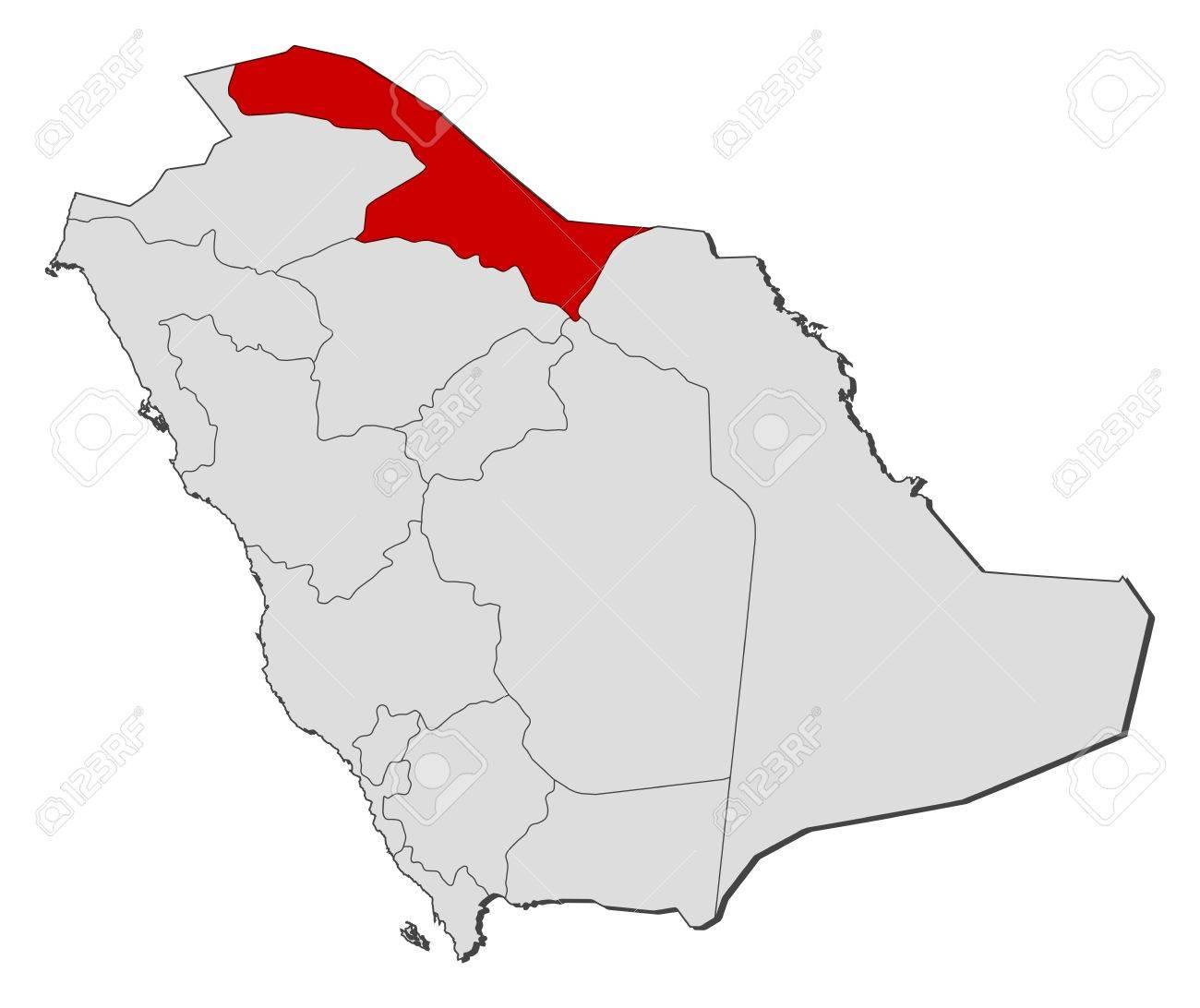 北部国境州が強調表示されますいくつかの州とサウジアラビアの政治地図 ...