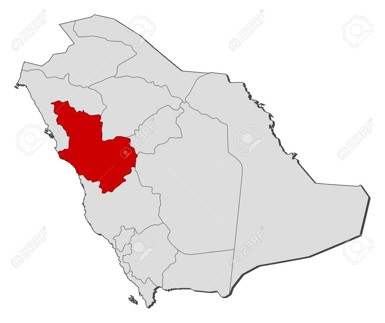 Political Map Of Saudi Arabia With The Several Provinces Where