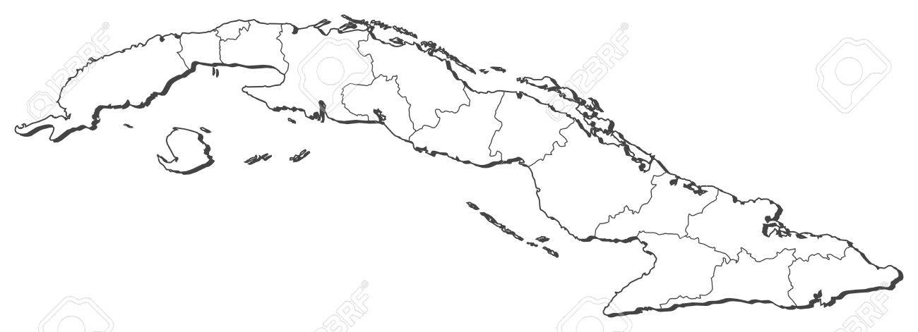 Political Map Of Cuba With The Several Provinces Royalty Free - Political map of cuba
