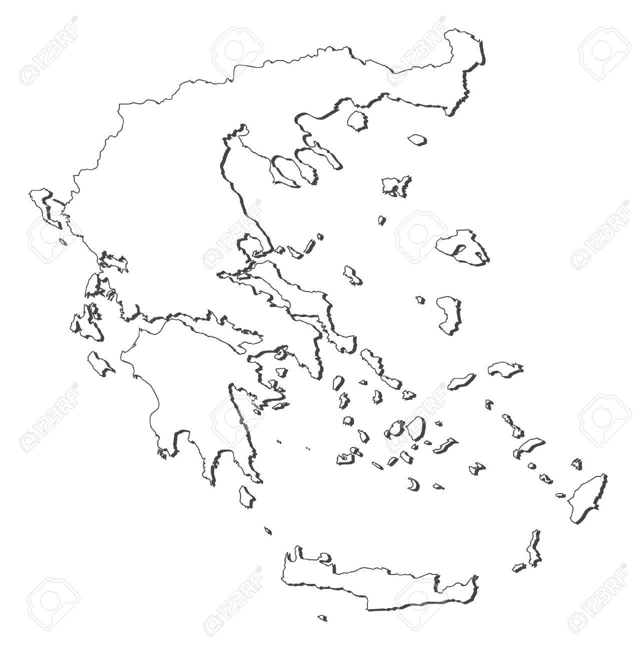 Political map of Greece with the several states. - 11451566