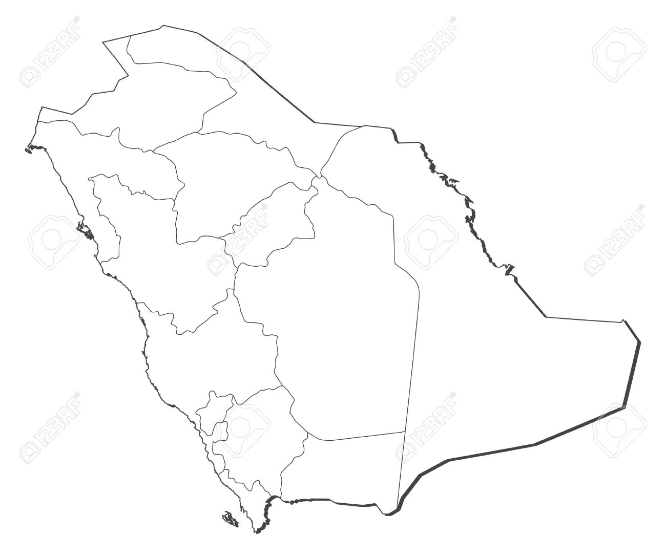 Political Map Of Saudi Arabia With The Several Provinces Royalty