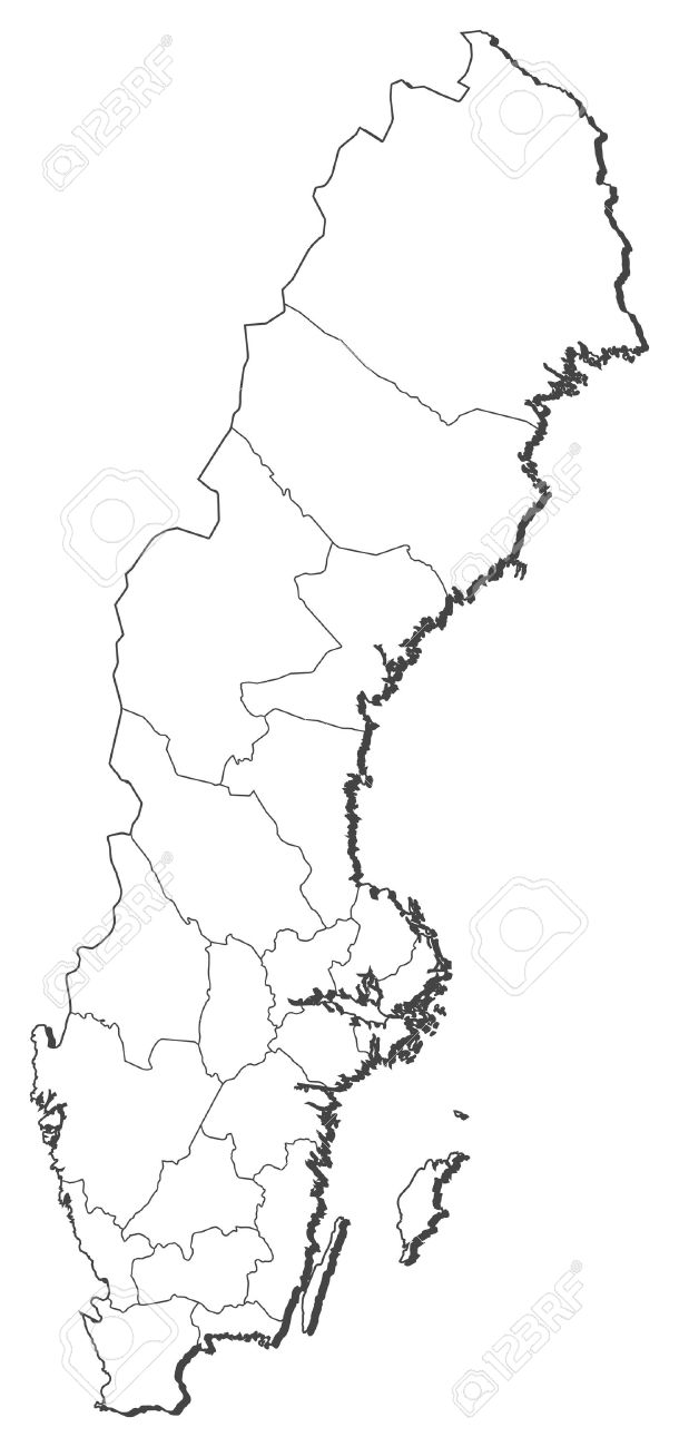 Political map of Sweden with the several provinces. - 11451572