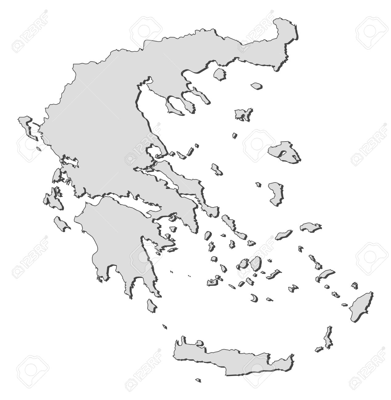 Political map of Greece with the several states.