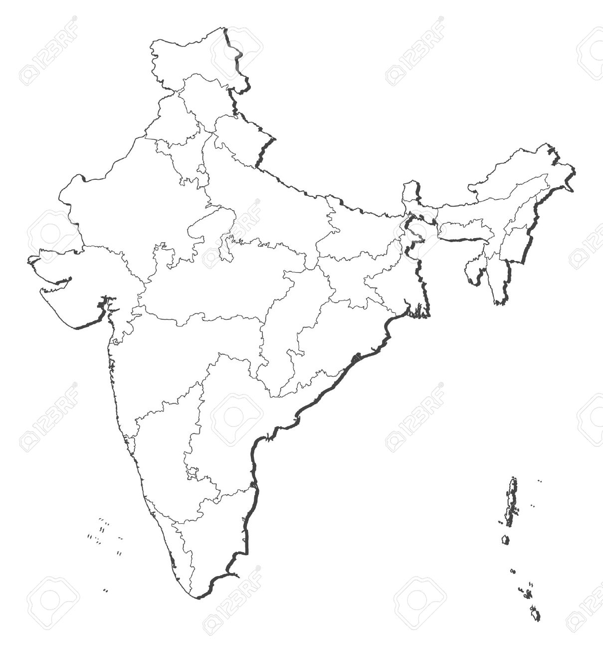 Political map of India with the several states. on india river map, india south asia map, texas county map black and white, india political map, river clip art black and white, india map with latitude and longitude, india map with city,