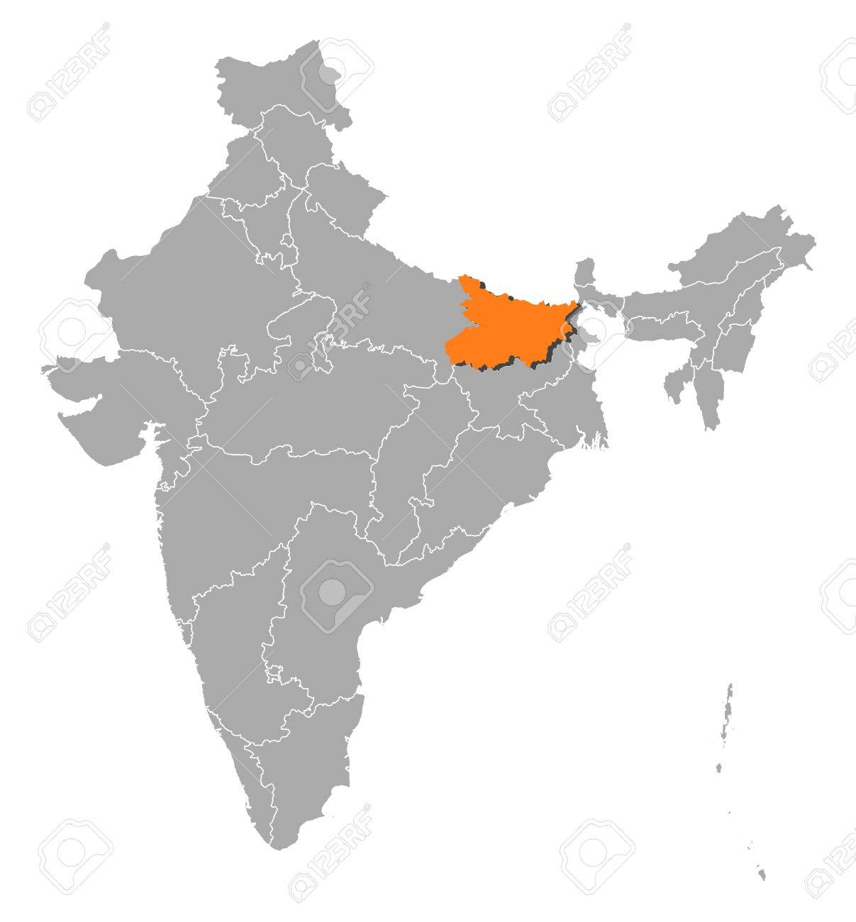 Political Map Of India With The Several States Where Bihar Is