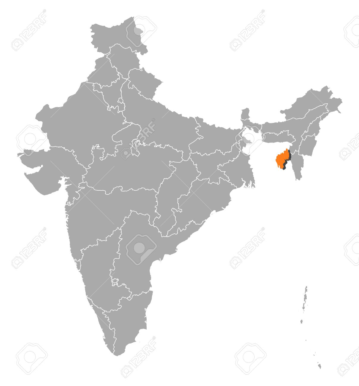 Political Map Of India With The Several States Where Tripura ...