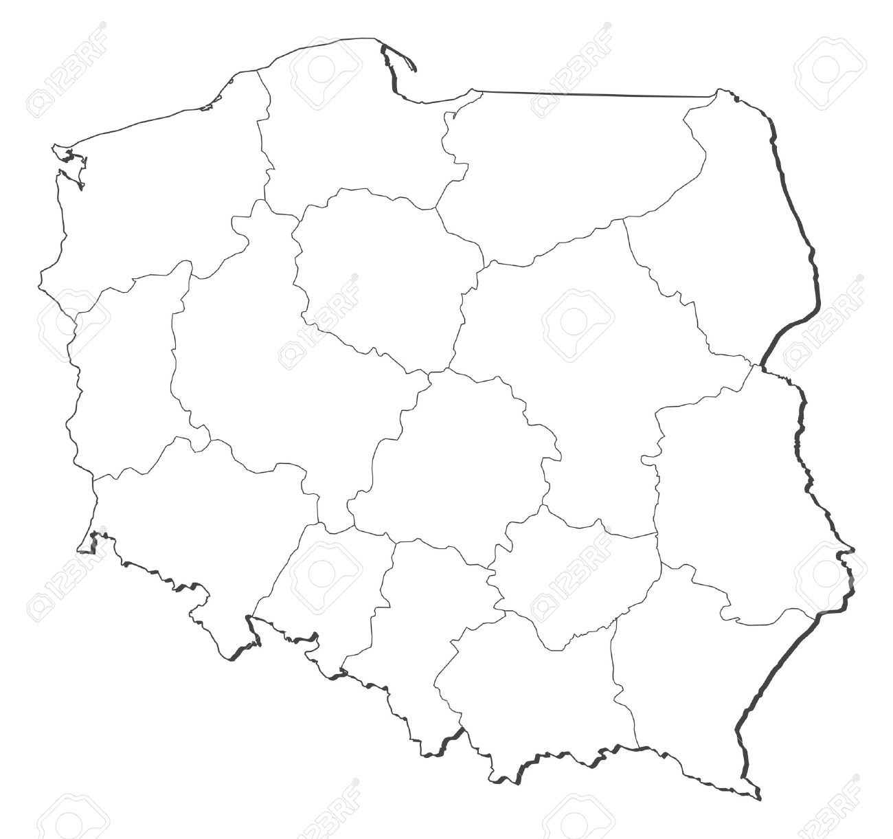 Political map of Poland with the several provinces (voivodschips). - 11452098