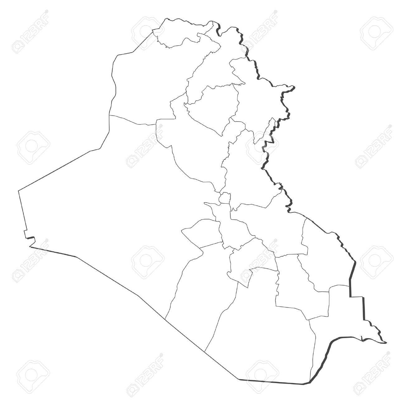 Political map of Iraq with the several governorates