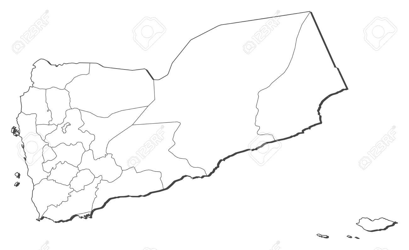 Political Map Of Yemen.Political Map Of Yemen With The Several Governorates Royalty Free