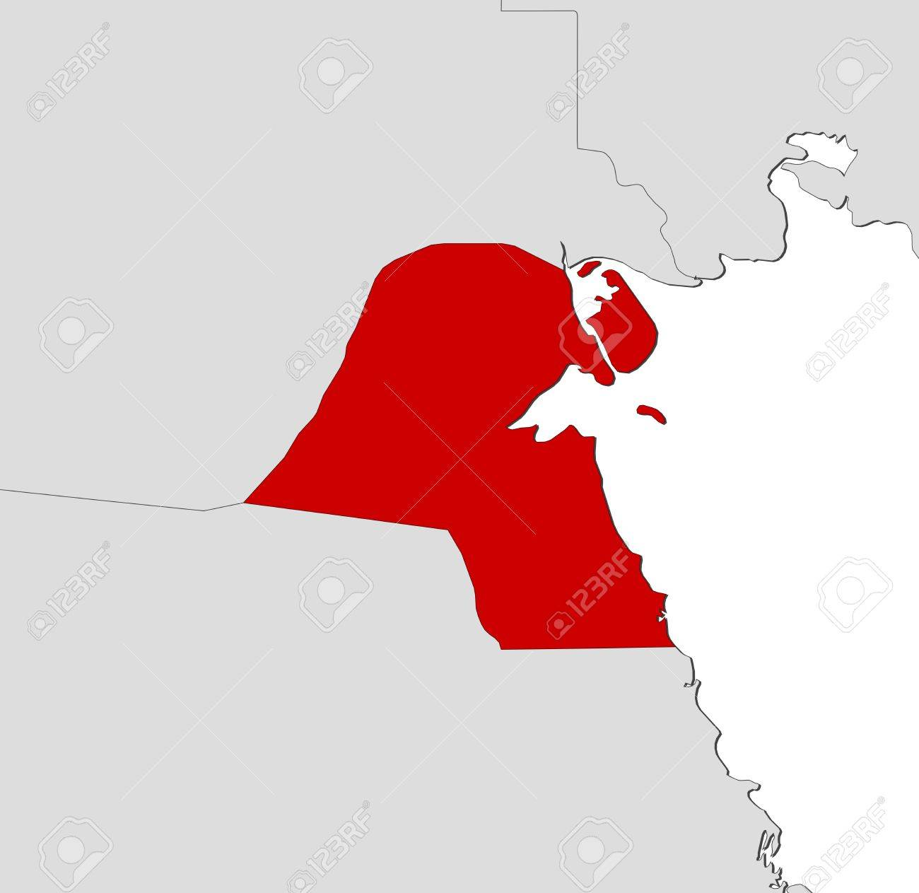 Kuwait Political Map.Political Map Of Kuwait With The Several Governorates Royalty Free