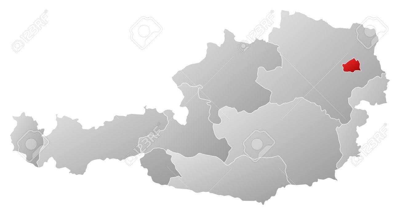 Mapa Politico De Austria.Mapa Politico De Austria Con Los Diversos Estados En Donde Se Destaca De Viena