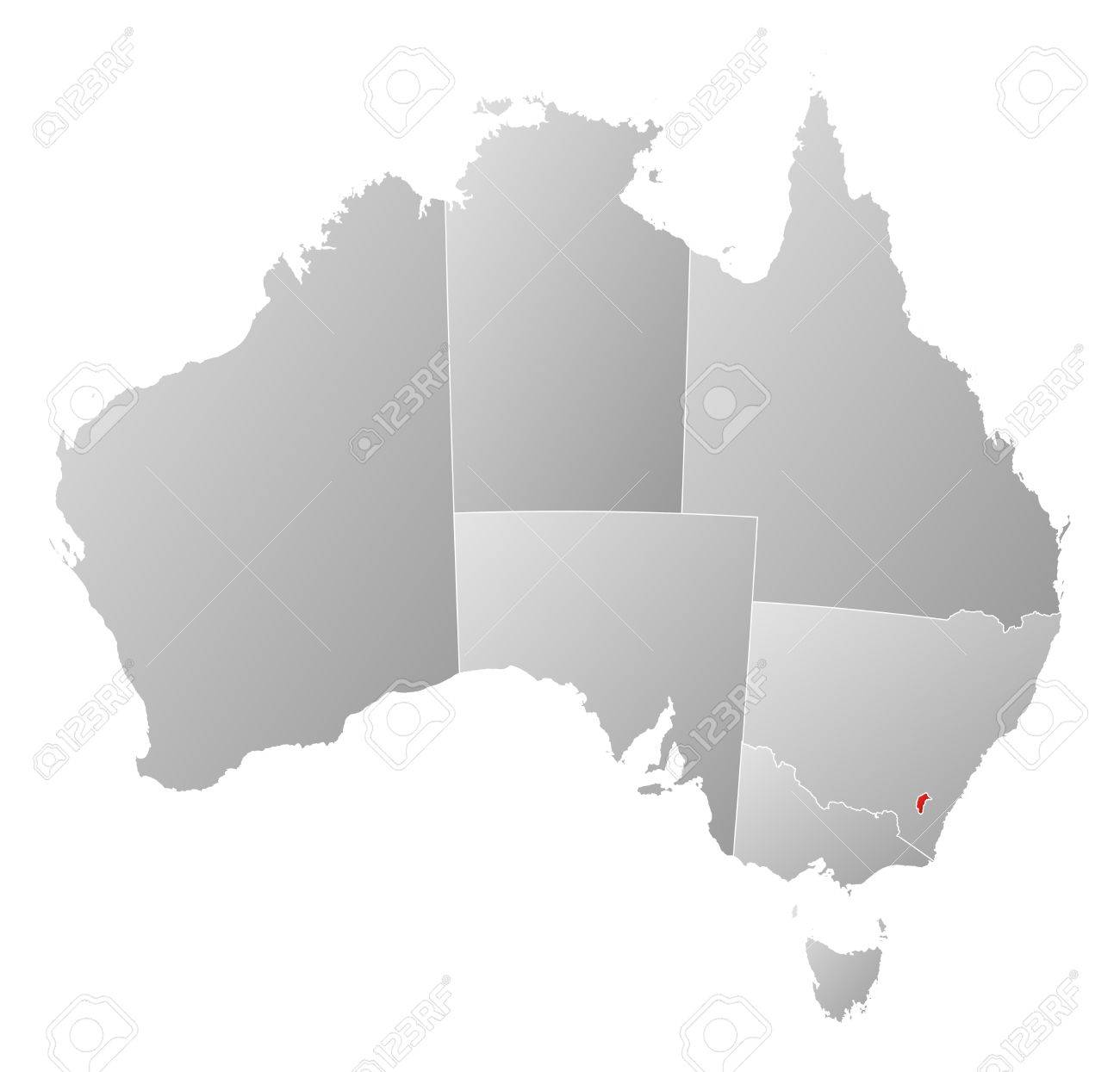 Political map of Australia with the several states where Capital Territory is highlighted. - 11505324
